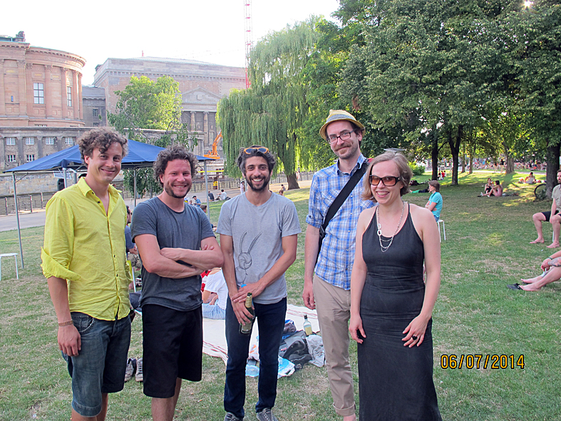 Composers on location: Adam Basanta from Canada (midst) and Random Order team from London (right)